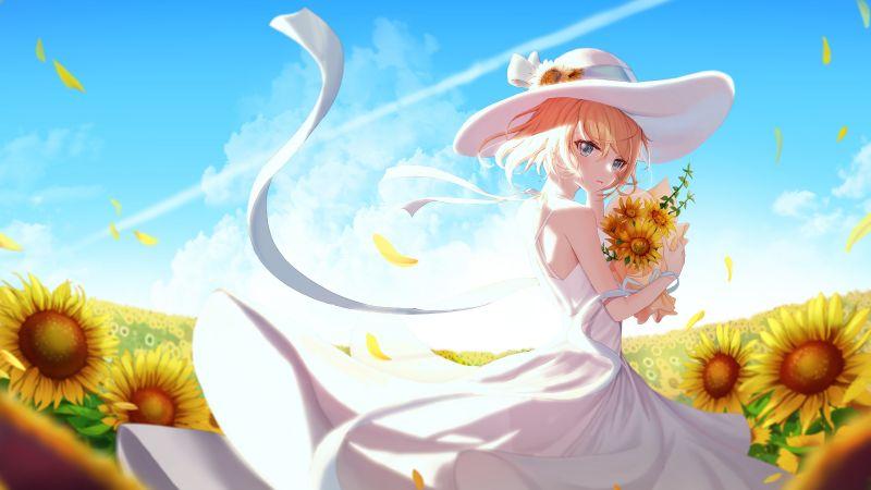 Anime girl, Sunflowers, Sunny day, 5K, Wallpaper
