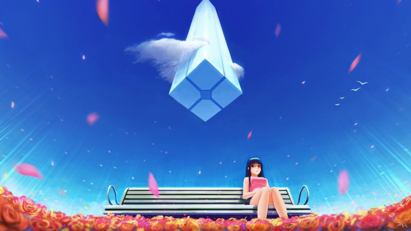 Anime girl, Lonely, Blue Sky, Alone, Wallpaper