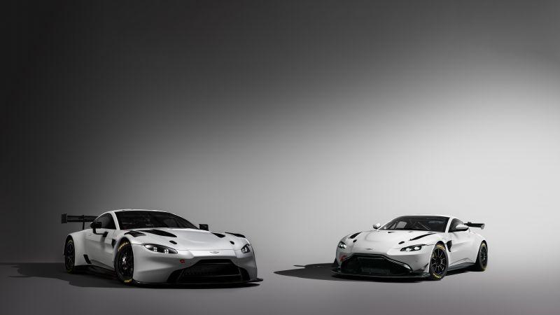 Aston Martin GT3, Aston Martin GT4, Monochrome, 2020, 5K, 8K, Wallpaper