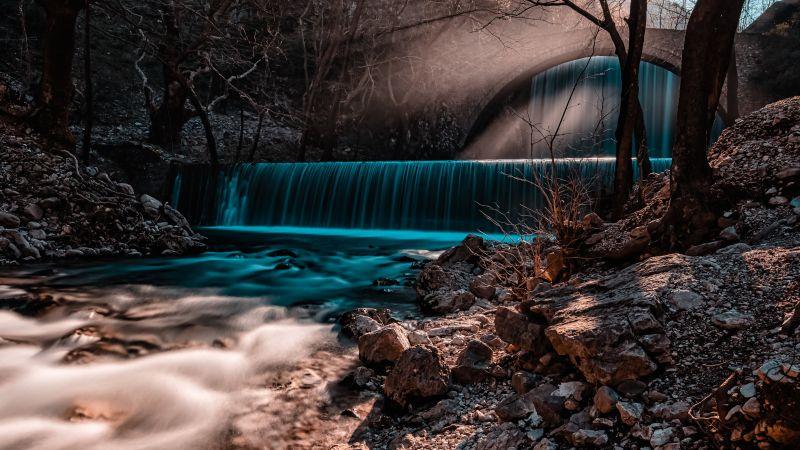 Waterfall, Forest, Autumn, Fall, Sun rays, Long exposure, 5K, Wallpaper