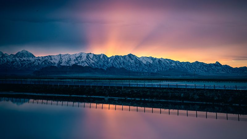 Snow mountains, Landscape, Sunrise, Salt Lake City, Water, Reflection, Scenery, Reflection, Mountain range, Clear sky, 5K, Wallpaper