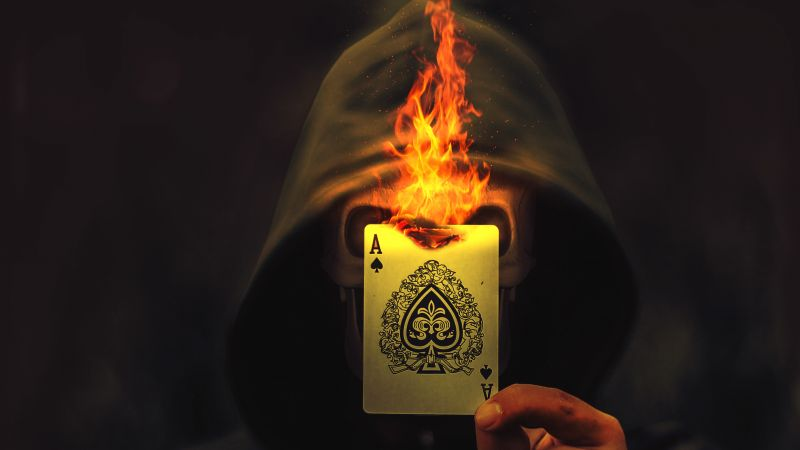 Ace of Spades, Skull, Hoodie, Burning, Playing card, Wallpaper