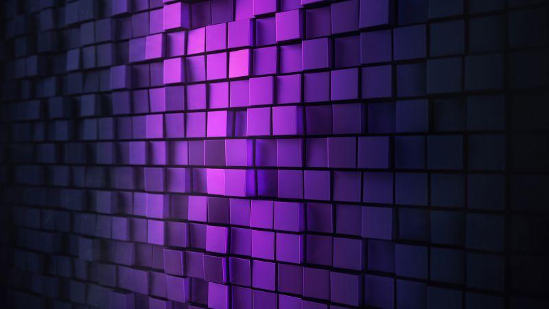 3D background, Squares, Purple light, Metal, Aesthetic, Wallpaper