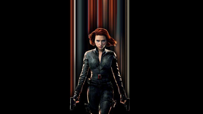 Black Widow, Scarlett Johansson, Black background, 2020 Movies, 5K, Wallpaper