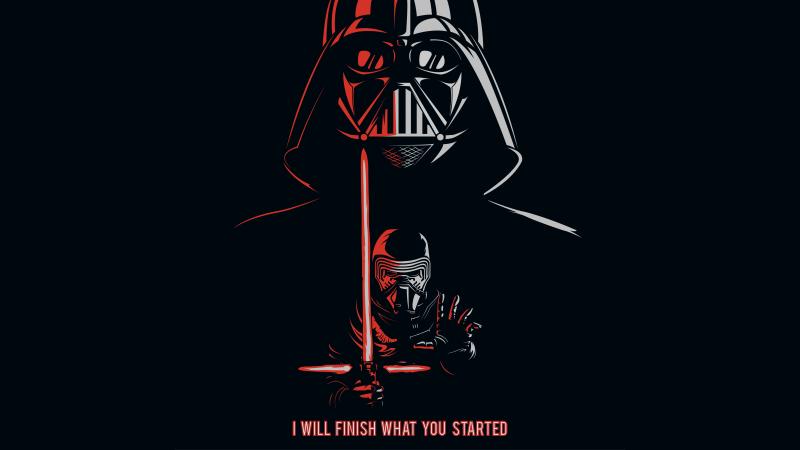 Kylo Ren, Darth Vader, Black background, Popular quotes, 5K, Wallpaper