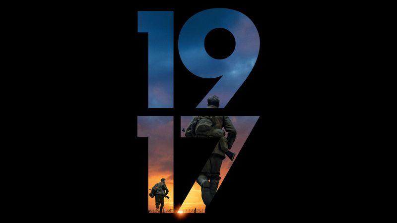 1917, War movies, Black background, 5K, 8K, Wallpaper