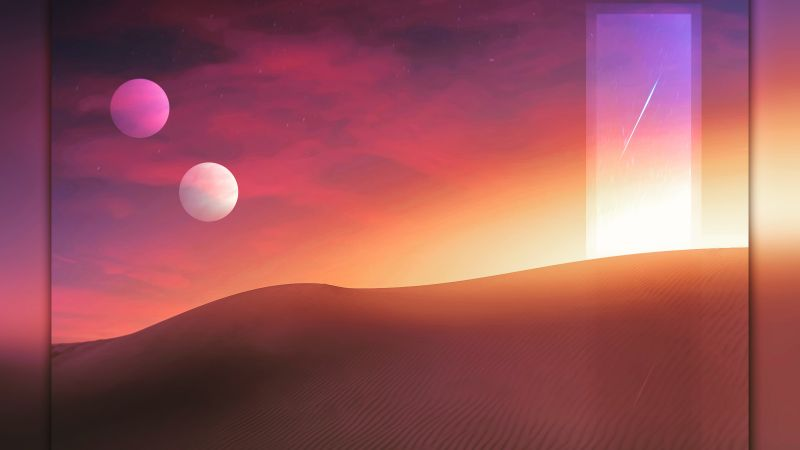 Desert, Tranquility, Sunset, Portal, Wallpaper