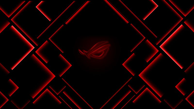 ASUS ROG, Ambient lighting, Red lighting, Dark background, Wallpaper