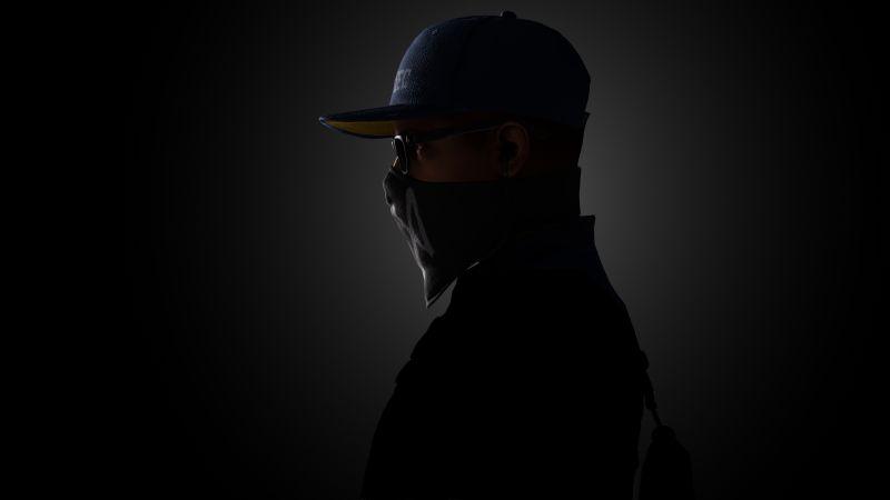 Marcus Holloway, Watch Dogs 2, Dark background, 5K, 8K, Wallpaper