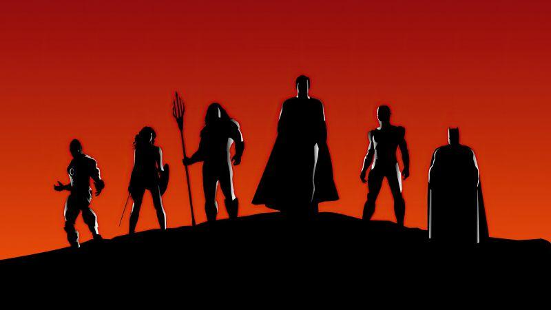 Justice League, Silhouette, DC Superheroes, Wallpaper