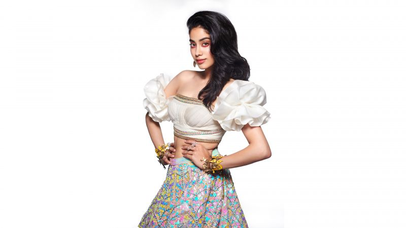 Janhvi Kapoor, Indian actress, Bollywood actress, White background, 5K, 8K, Wallpaper