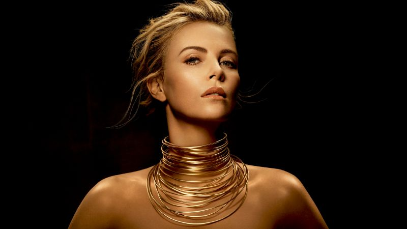 Charlize Theron, American actress, Black background, Golden, Wallpaper
