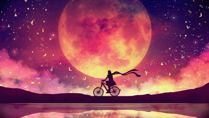 Moon, Girl, Dream, Lake, Bicycle, Surreal, Evening, Wallpaper