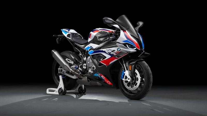 BMW M 1000 RR, Race bikes, Black background, 2021, 5K, Wallpaper