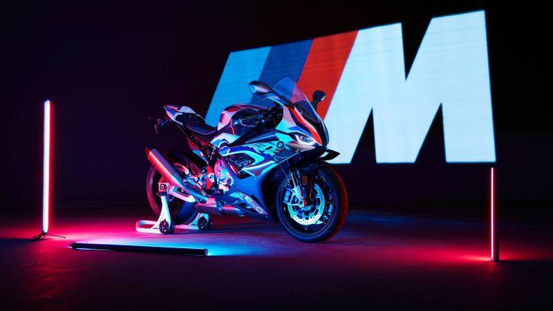 BMW M 1000 RR, Race bikes, 2021, 5K< Neon, Dark background, Wallpaper