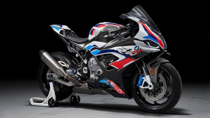 BMW M 1000 RR, Race bikes, 2021, Black background, 5K, Wallpaper