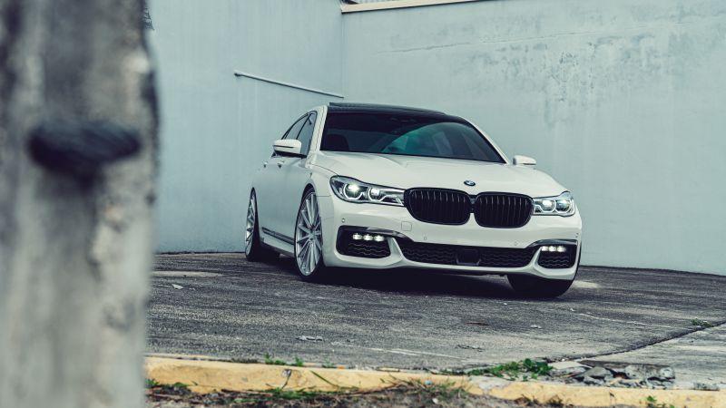 BMW 7 Series, White cars, 5K, Wallpaper