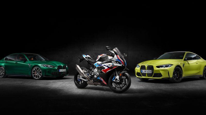 BMW M 1000 RR, BMW M3 Competition, BMW M4 Competition, Race bikes, Sports bikes, 2021, Black background, 5K, Wallpaper