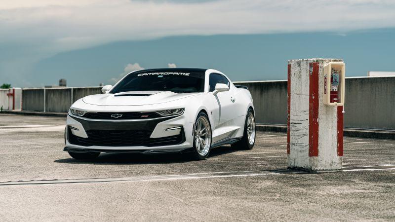 Chevrolet Camaro, White cars, 5K, 8K, Wallpaper