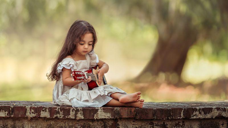 Cute Girl, Playing guitar, Adorable, Kid, Child, Wallpaper