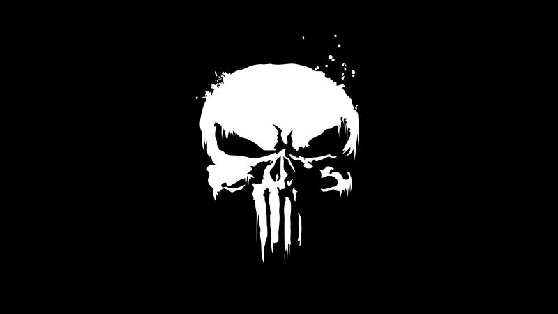 The Punisher, Marvel Comics, Skull, Black background, Monochrome, Wallpaper