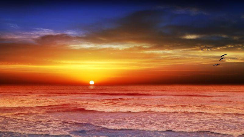Beach, Sunset, Seascape, Evening, Dusk, Ocean, Wallpaper