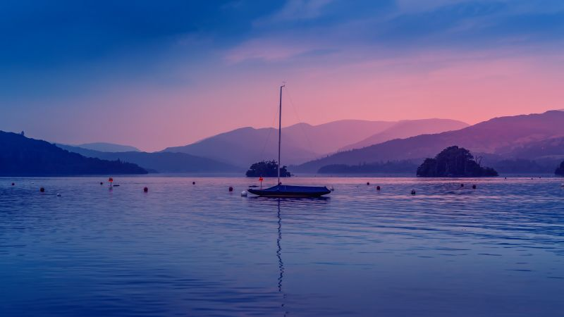 Windemere lake, Boat, Bowness Bay, Dawn, Body of Water, Evening, Mountains, Colorful Sky, 5K, Wallpaper