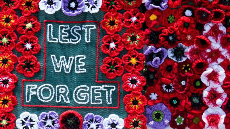 Lest We Forget, Woolen Flowers, Floral designs, Embroidered Flowers, Red poppies, 5K, Wallpaper