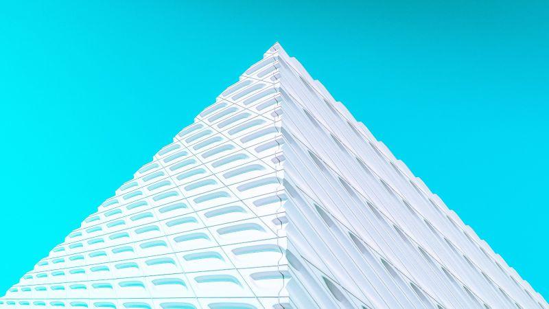 White Pyramid, Illustration, Modern architecture, Geometrical, Pattern, Blue background, 5K, Wallpaper