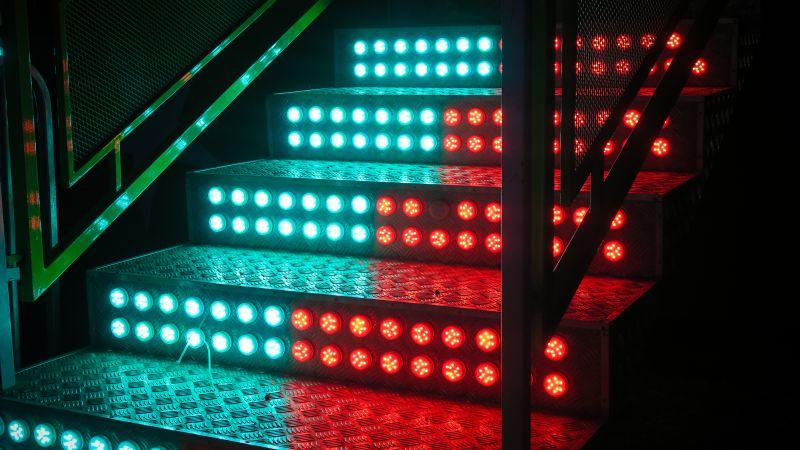 Staircase, LED lights, Steps, Blue, Red, 5K, Wallpaper