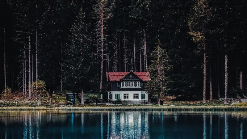Dark Forest, House, Tall Trees, Woods, Lake, Body of Water, Reflection, Landscape, Scenery, 5K, Wallpaper