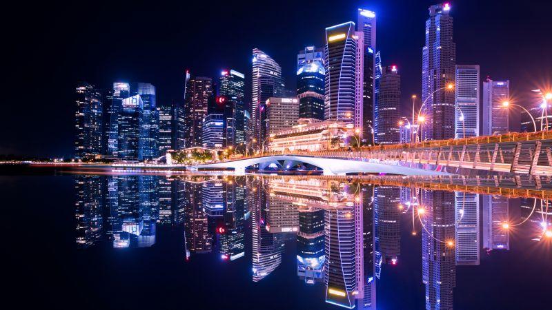 City Skyline, Singapore, Skyscrapers, Modern architecture, Body of Water, Reflection, Symmetrical, Cityscape, Night time, City lights, Beautiful, 5K, Wallpaper