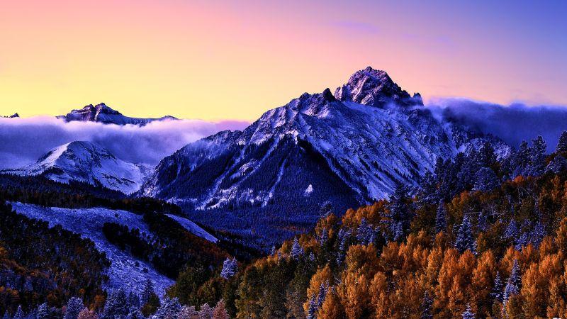 Mount Sneffels, Colorado, Snow covered, Aspen trees, Fog, Purple sky, Morning, Glacier, Beautiful, Wallpaper