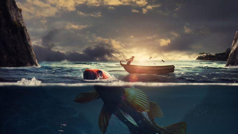 Surreal, Fishing, Boat, Sea, Sunrise, Underwater, Wallpaper