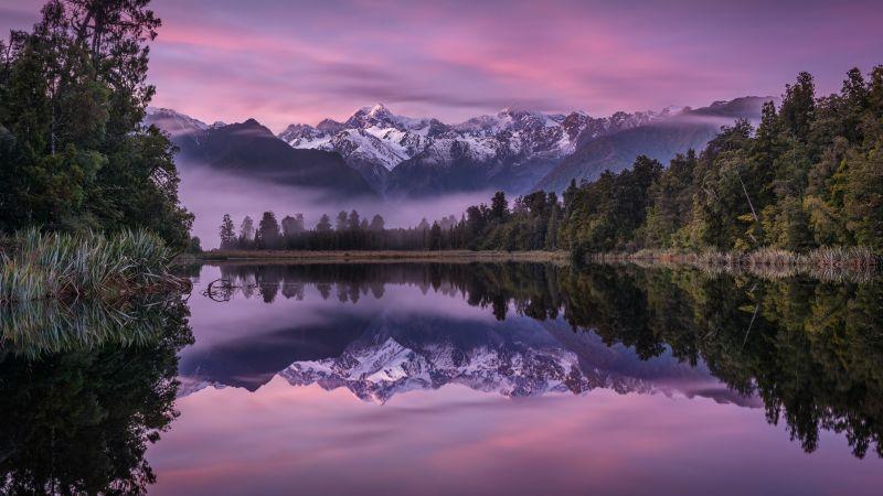 Lake Matheson, New Zealand, Landscape, Mountains, Lake, Water, Winter, Reflection, Glacier, Trees, Purple sky, Wallpaper