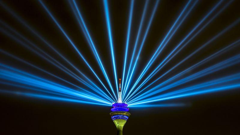 Rhine Tower, Rheinturm, Düsseldorf, Germany, Television Tower, Light beam, Laser Lights, Blue light, Black background, Night life, Wallpaper