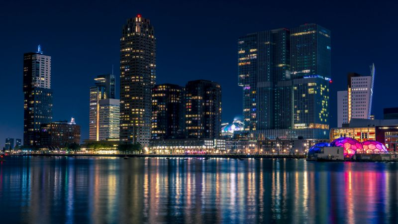 City Skyline, Rotterdam, Netherlands, Nightscape, Cityscape, Body of Water, Reflection, Night lights, Skyscrapers, Modern architecture, Blue hour, Wallpaper