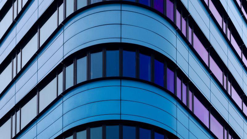 Rijn Tower, Arnhem, Netherlands, Curve, Patterns, Glass building, Blue, Purple, 5K, Wallpaper