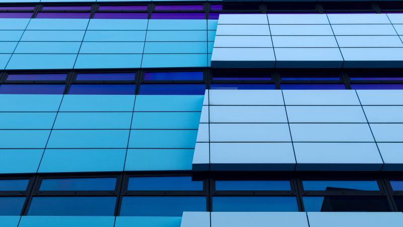 Rijn Tower, Arnhem, Netherlands, Gelderland, Glass building, Pattern, Blue, Abstract Lines, 5K, Wallpaper