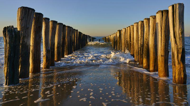 Breskens Beach, Holland, Netherlands, Breakwaters, Sea, Ocean, Waves, Seascape, Woods, Pattern, Evening, Sunset, Coast, 5K, Wallpaper
