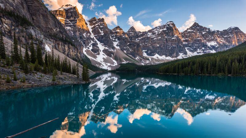Moraine Lake, Canada, Reflection, Sunset, Water, Landscape, Mountain Peaks, Snow, Scenic, Clouds, 5K, 8K, Wallpaper