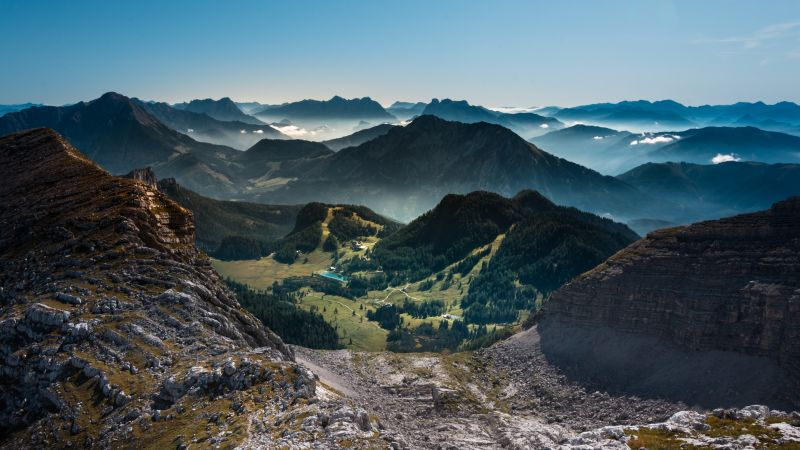 Warscheneck, Eastern Alps, Austria, Landscape, Mountain range, Valley, Village, Scenery, Blue Sky, 5K, Wallpaper