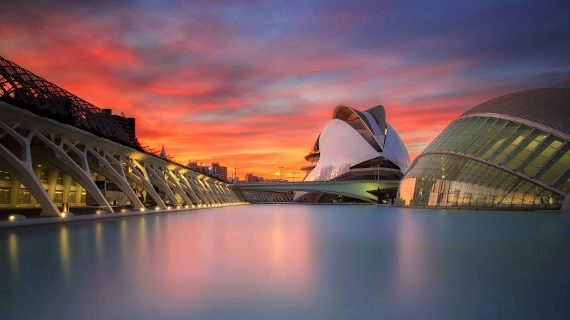 City of Arts and Sciences, Science Museum, Modern architecture, Valencia, Spain, 5K, Wallpaper