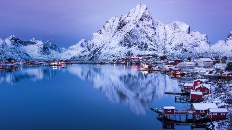 Reine, Lofoten islands, Snow mountains, Glacier, Reflection, Village, Water, Norway, Aesthetic, 5K, 8K, Wallpaper