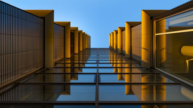 Modern Architecture, Look up, Reflection, Glass building, Symmetrical, Blue, Orange, Exterior, Blue Sky, 5K, Wallpaper