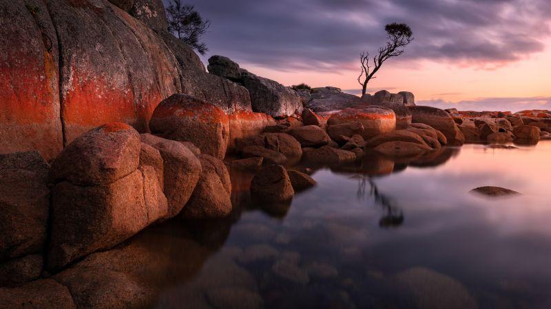 Binalong Bay, Tasmania, Australia, Sunrise, Landscape, Rocks, Body of Water, 5K, 8K, Wallpaper