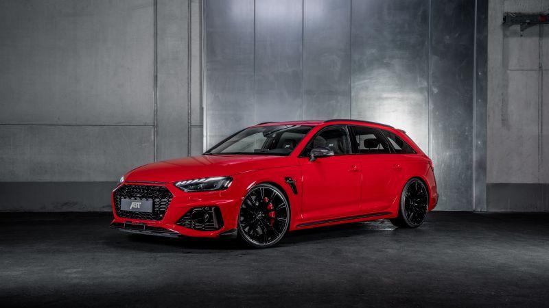 Audi RS 4 Avant, ABT, 2021, Dark background, Red cars, Wallpaper