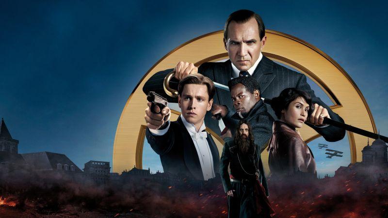 The King's Man, Ralph Fiennes, Djimon Hounsou, Rhys Ifans, Gemma Arterton, Harris Dickinson, 2021 Movies, 5K, Wallpaper