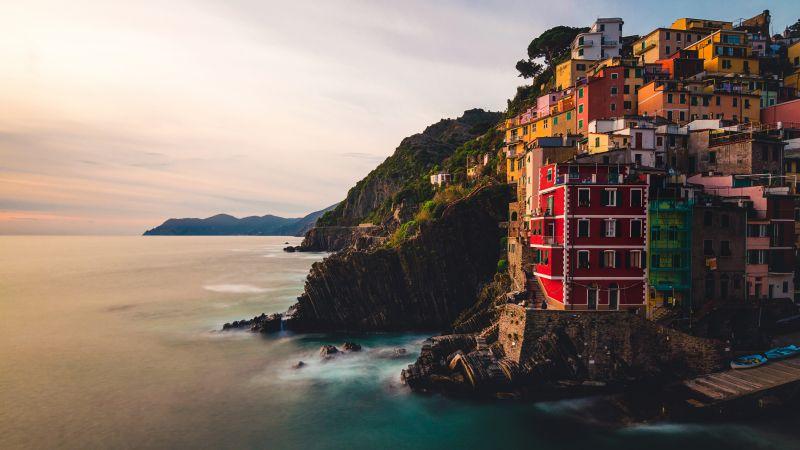 Riomaggiore, Villiage, Sunset, Cliff, Ocean, Rocky coast, Italy, 5K, Wallpaper