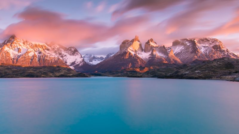 Lake Pehoe, Torres del Paine National Park, Landscape, Lake, River, Sunny day, Scenery, Chile, Aesthetic, 5K, Wallpaper